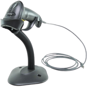 Zebra LS2208 barcode scanner with stand